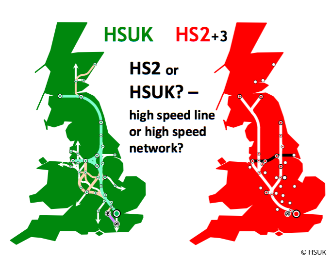 HSUK and HS2 route comparison. Image: HSUK.