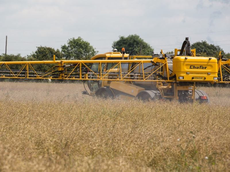 Farm machinery spraying glyphosate to oilseed rape. Photo: Chafer Machinery via Flickr (CC BY 2.0)