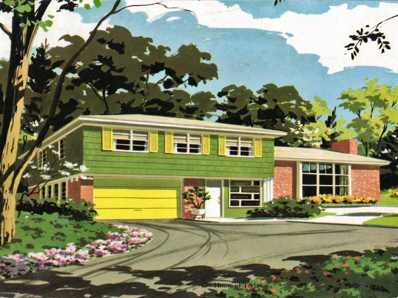 US suburbia: alright for some. But access to it was regulated along strictly racial lines. Mid 20th century calendar illustration. Photo: wackystuff via Flickr (CC BY-NC).