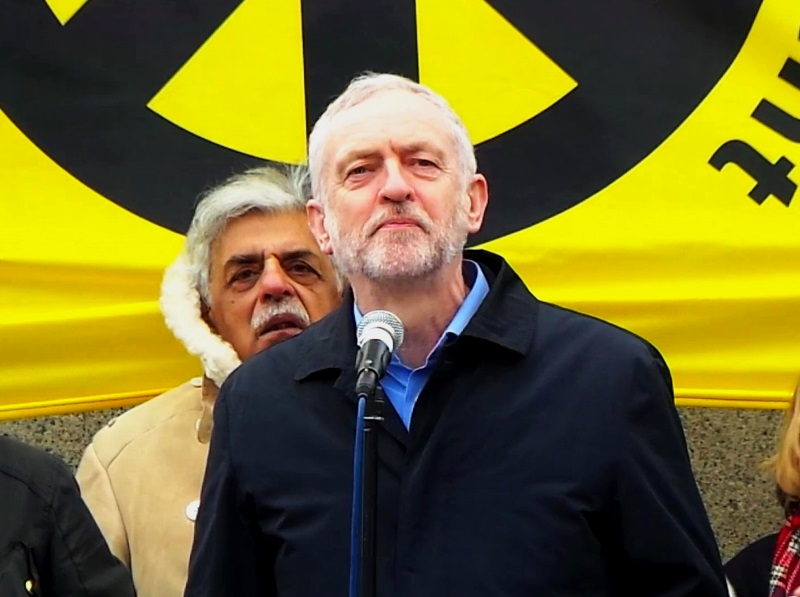 Jeremy Corbyn at a Stop Trident rally at Trafalgar Square - the current Labour energy policy is not in keeping with the ideals of the current party's leader. Photo: Garry Knight via Flickr (CC BY)
