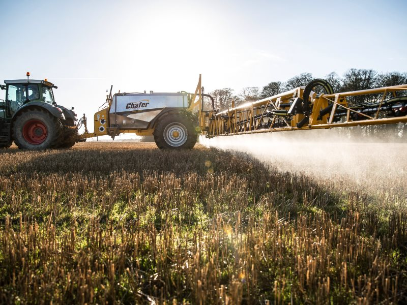 Chafer Sentry applying glyphosate to stubbles in North Yorkshire on a sunny December day. Photo: Chafer Machinery via Flickr (CC BY).