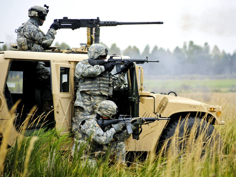 US soldiers perform a platoon mounted and dismounted live-fire exercise at Grafenwoehr Training Area in Germany Oct. 6, 2010. Photo: Gertrud Zach / The U.S. Army via Fliclr (CC BY).
