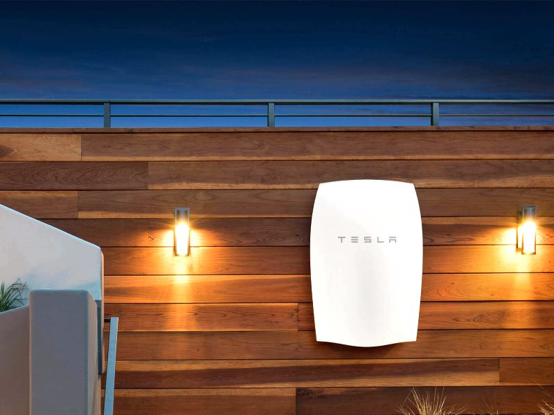 Tesla Powerwall battery keeping the solar lights on after sunset. Photo: Tesla.com.