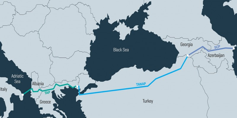 The pipelines that make up the 3,500km Southern Gas Corridor from the Caspian Sea to Italy's Adriatic coast. Image: Bankwatch Network.