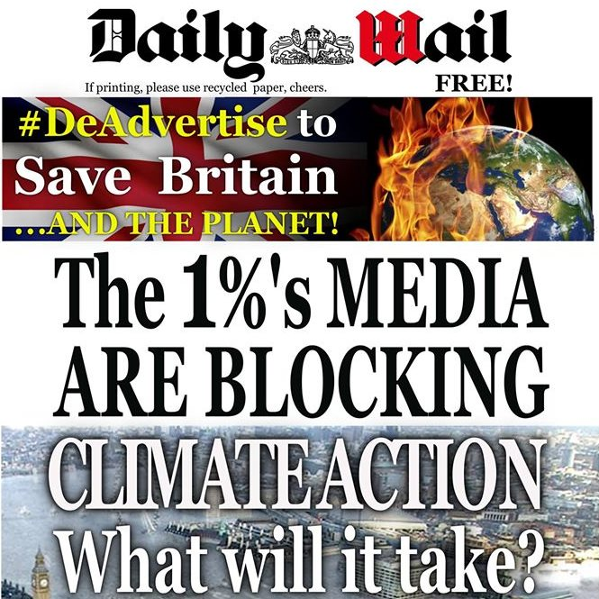 Front page of the Daily Wail - a project of the  Advertising Action on Climate Project (AACP). Photo: AACP.