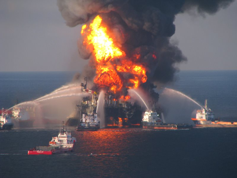 The Deepwater Horizon fire, 21st April 2010. Photo: Deepwater Horizon Response via Flickr (CC BY-ND).