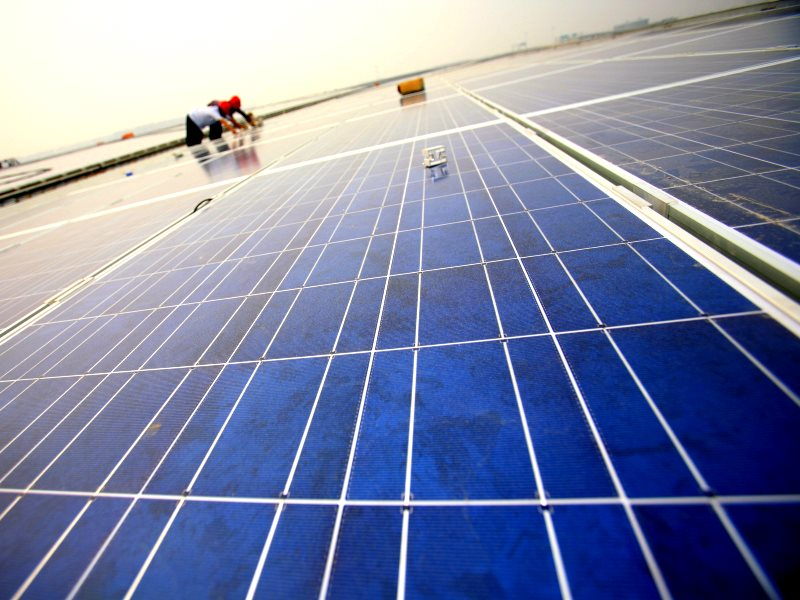China is already the world's leading manufacturer and installer of solar PV. Installation of solar panels on the Hongqiao Passenger Rail Terminal in Shanghai, China. Photo: Jiri Rezac / The Climate Group via Flickr (CC BY-NC-SA).