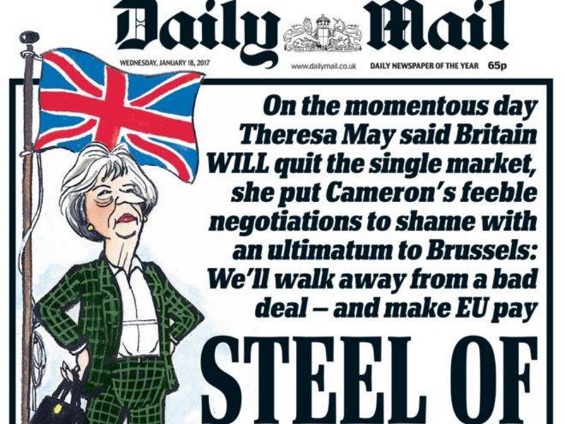 How the Daily Mail greeted Theresa May's sharp turn to the extreme right this week. Photo: Donnachadh McCarthy.