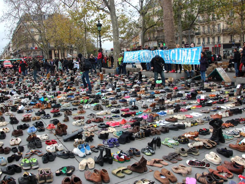 22,000 shoes in Place de la Republique - Climate of Peace #climat2paix, 29th November 2015, at #COP21 - placed to represent the hundreds of thousands of people denied freedom of speech and freedom of assembly in the March for the Climate. Photo: Takver vi