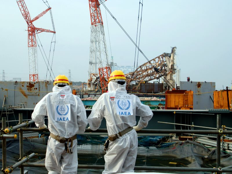 IAEA technicians examine Unit 4 of TEPCO's Fukushima Daiichi nuclear power station, the only one of four reactors to be stabilised - because it was  defuelled at the time of the earthquake and tsunami. Photo: IAEA Imagebank via Flickr (CC BY-SA).