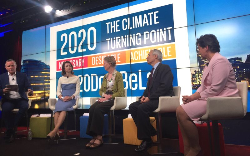"""Climate turning point is necessary, advisable and achievable"" @CFigueres at launch of Mission2020 #2020DontBeLate. Photo: @EmmaHowardBoyd via Twitter."
