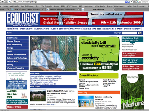 Ecologist website screenshot