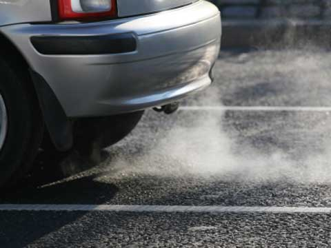 Exhaust pollution from a car