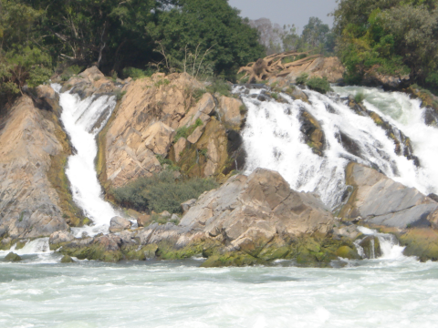 Khone Falls in the dry season. Photo: Tom Fawthrop.