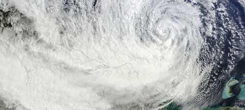 Hurricane Sandy on 28 October 2012. NASA image courtesy LANCE MODIS Rapid Response Team at NASA GSFC.