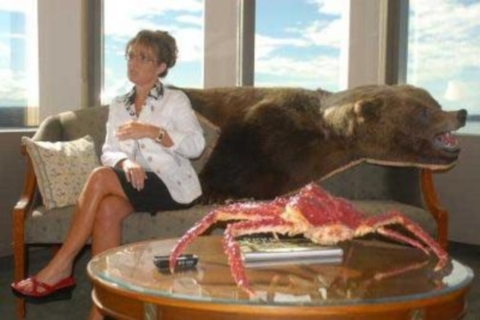 Sarah Palin with Grizzly bear skin. Photo: Grizzly Bay via Flickr.com.