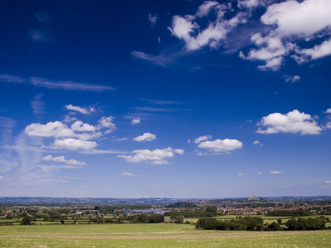 Blue skies over the Somerset Levels. Photo: Joe Dunckley via Flickr.com.