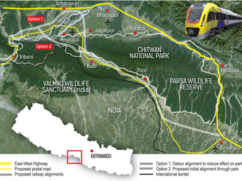 Map showing the proposed developments in and around Chitwan National Park. Image: Nepali Times.