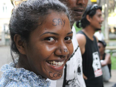'Say no to Coal' in face paint. Photo: Daren Govinden.