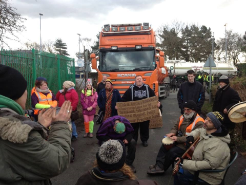 Protestors blocking vehicles at Barton Moss. Photo: Barton Moss Protest Camp.