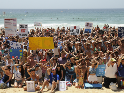 Sydney shark cull protest. Photo: Silke Stuckenbrock.