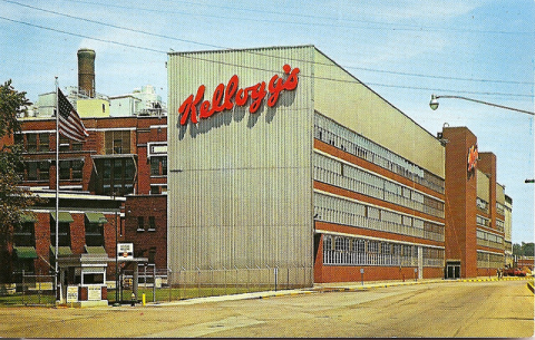 Kellogg Company factory, Battle Creek, Michigan. Photo of old postcard by katherine of chicago.