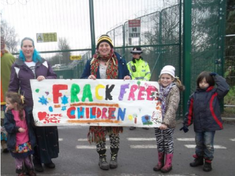 Barton Moss -'frack-free children' join the demonstration. Photo: Salford Star.