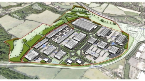 An idealised view of the new 'Enterprise Zone' planned for open countryside around Manchester Airport.