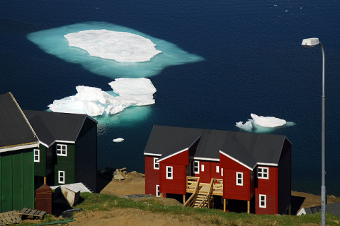 Houses by the sea in Greenland. Photo: David Astley.