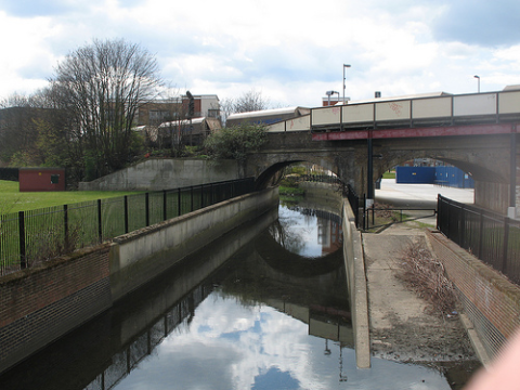 The River Quaggy near it's confluence with the Ravensbourne, where it goes under Platforms 1 & 2 of Lewisham station. Photo: John Poulton via Flickr.com.