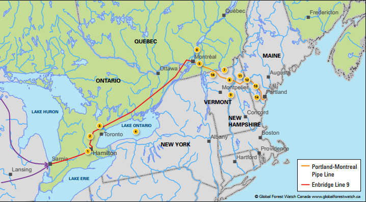 The network of pipelines linking the Athabasca tar sands across to Portland, Maine. Image: www.globalforestwatch.ca/ .