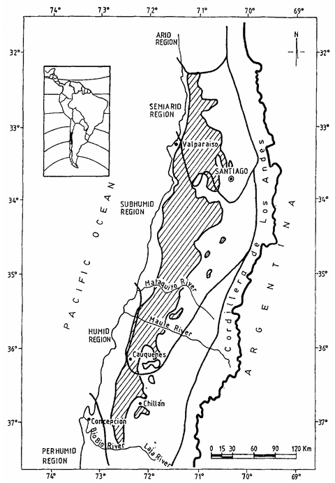 The distribution of Chile's 'espinal' savannah. Image: 'The espinal: agroforestry systems of the mediterranean type climate region of Chile' by Carlos Ovalle, James Aronson, Alejandro Del Pozo, Julia Avendano.