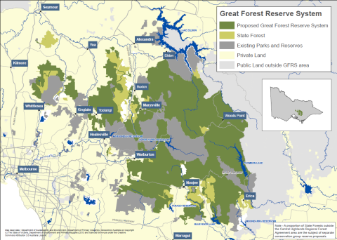 Map of the proposed Great Forest National Park. A high-res version is on http://www.greatforestnationalpark.com.au/ .