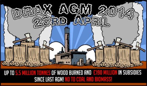 Invitation to the Drax AGM 2014. Image by BioFuelWatch.