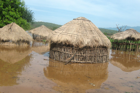 A village in the Omo Valley, flooded out following dam construction. Photo: HRW.