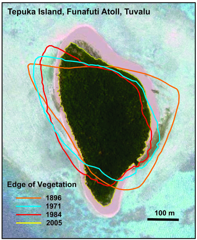 Changes in vegetated shoreline on Tepuka Island, Funafuti Atoll, Tuvalu 1896-2005.