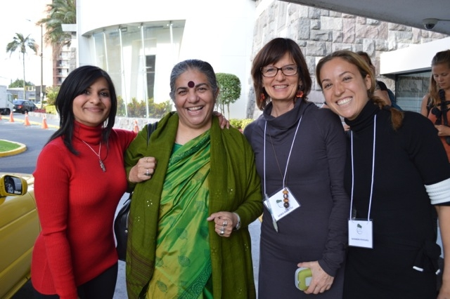 Mumta Ito, Vandana Shiva & Doris Ragettli from the Universal Declaration for the Rights of Mother Earth campaign, and Alexandra Postelnicu from Pachamama Romania - at the Rights of Nature Conference in Ecuador, January 2014.