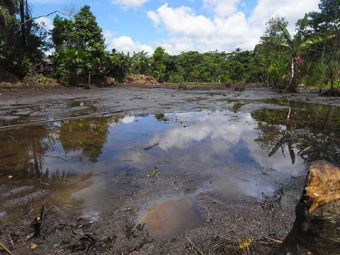 Oil pollution in the Lago Agrio oil field in Ecuador, operated by Texaco. Photo: Julien Gomba / Wikimedia Commons.