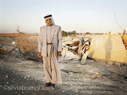 Sheikh Saiah amid the destruction at Al Araqib. Photo: Silvia Boarini / silviaboarini.com.