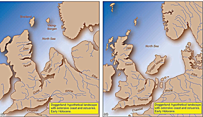 The North Sea appears at start of the modern period (C), leaving only 'Dogger Island' (Dogger Bank) as recognisable coastlines appear (D). Vincent Gaffney.