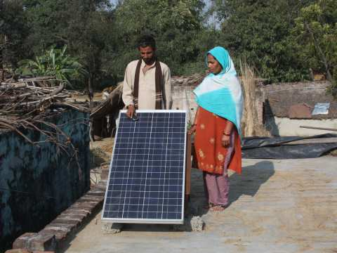 These solar panels power micro-grids that provide villages with light and phone charging. Photo: Chhavi Sharma / Ashden.