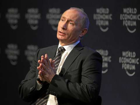 Vladimir Putin speaking to the International Business Council at the World Economic Forum in Davos. Photo: World Economic Forum.