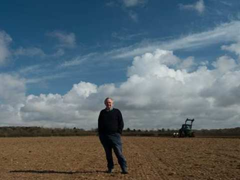 Peter Melchett on a freshly ploughed and tilled field at Courtyard Farm in Norfolk. Photo: Peter Melchett.