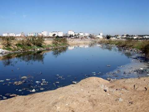 Untreated waste water in Wadi Gaza, near Gaza City. ICRC.