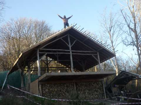 The roof is raised! Photo: Moulsecoomb Forest Garden.