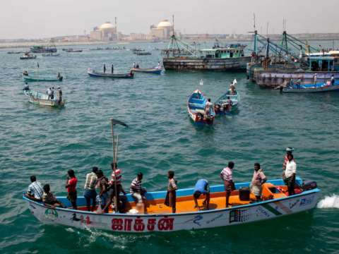 Anti-nuclear boat protest in Koodankulam, South India, where thousands of fisherfolk have been charged with sedition for opposing a Russian reactor. December 2012.