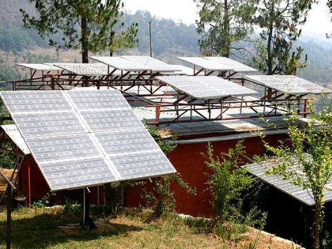 Many more of these to come ... solar panel at Solar panels in Uttaranchal, India. Photo: Barefoot photographers of Tilonia via Flickr.