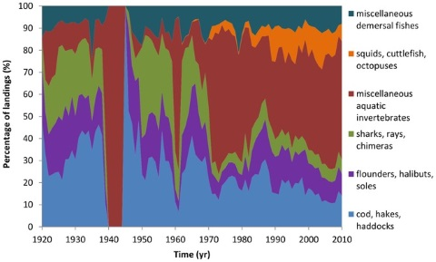 English Channel landings 1920–2010, showing falling white fish catch (ICES data).  Molfese, Beare, Hall-Spencer, CC BY.