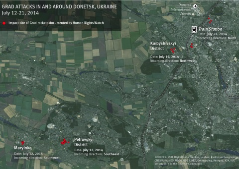 Grad attacks documented by Human Rights Watch in and around Donetsk, Ukraine from July 12 - 21, 2014. Photo: Human Rights Watch.