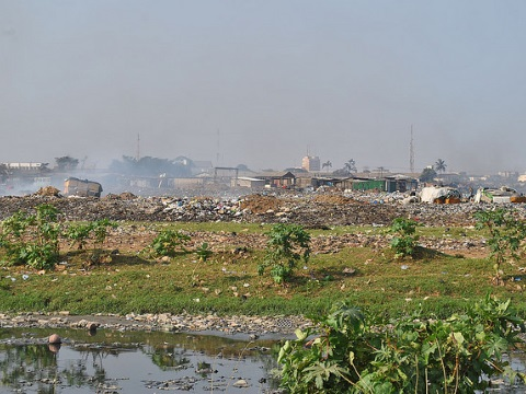 Aglogbloshie - people live among the toxic wastes. Photo: qamp.net via Flickr.